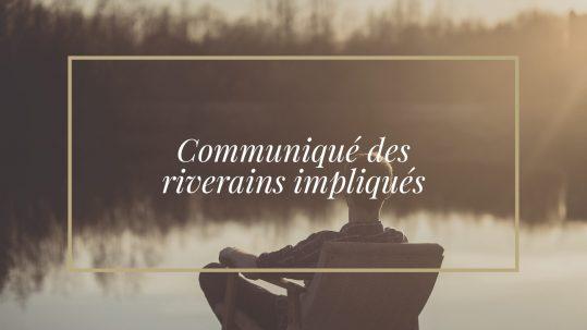 Communiqué des riverains impliqués de L'Association du lac Chapleau