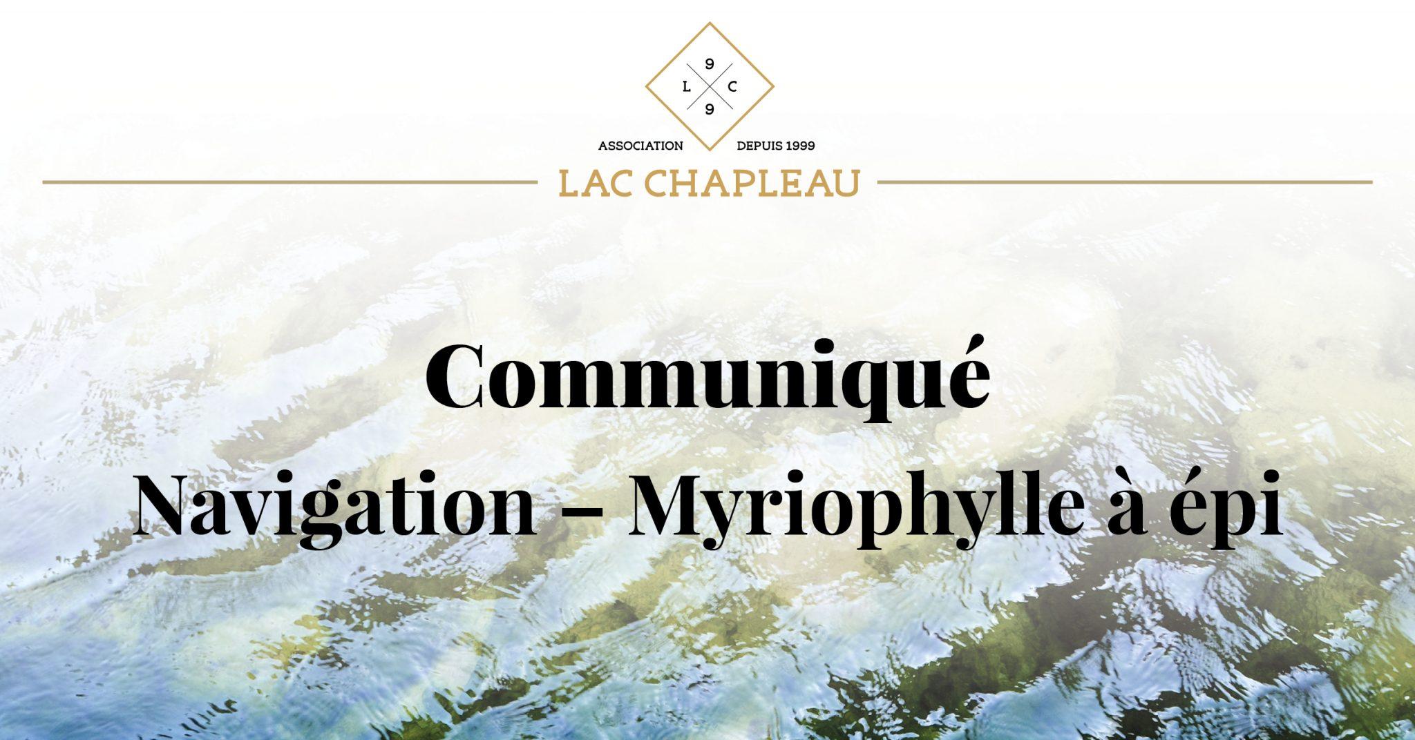 Communiqué Navigation – Myriophylle à épi